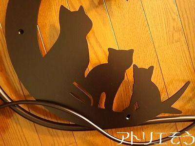 猫3匹と月と星と四葉のクローバー妻飾り。アルミ製妻飾り。