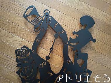 時計と薔薇とトランプ妻飾りステンレス製妻飾り