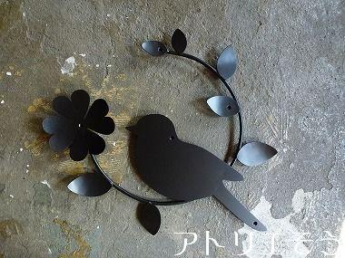 135:小鳥クローバー妻飾り 。錆に強いs店レス製妻飾り