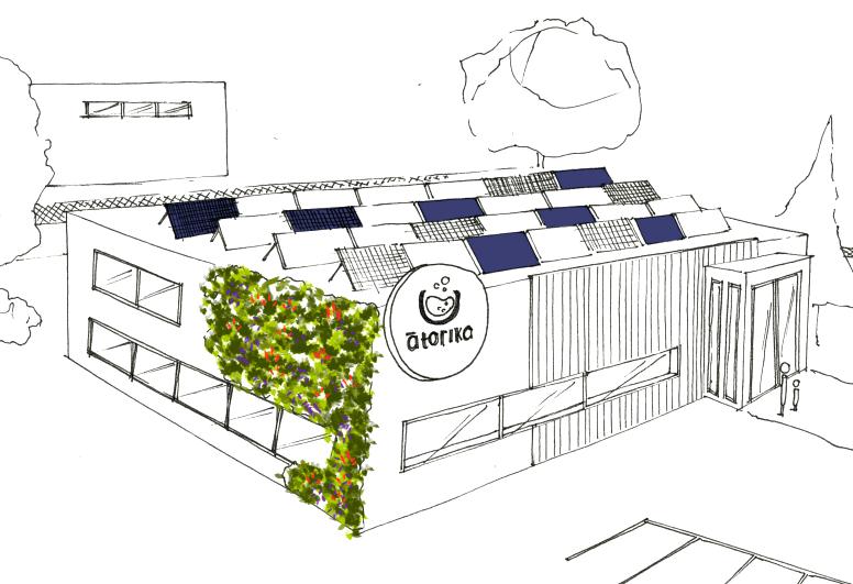 Mur végétal et panneaux solaires