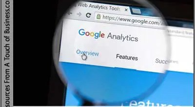 Image of a magnifying glass over the Google Analytics websites