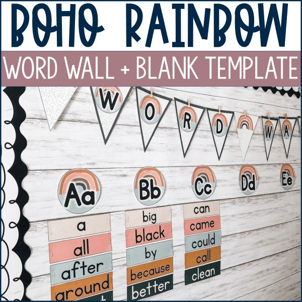 Boho Rainbow Word Wall Kit