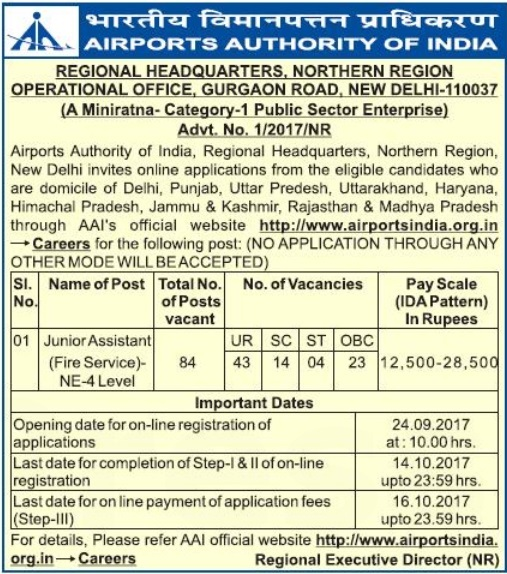AAI Recruitment Airport authority of India Jobs for 10+2 Diploma