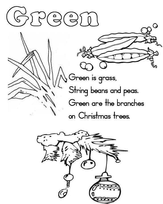 green worksheets colouring