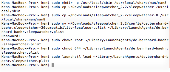 Loading the configurations and allowing sleepwatcher to always run on start