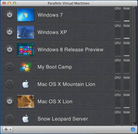 Parallels Desktop 8 Virtual Machine List