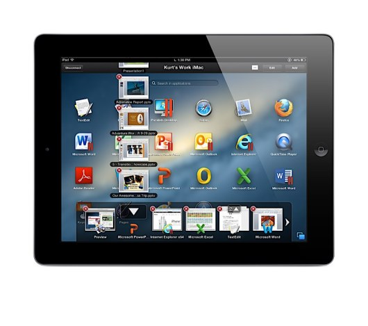 Parallels Access Launch Pad on a Mac with App Switcher
