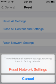 Proceed to reset the network settings