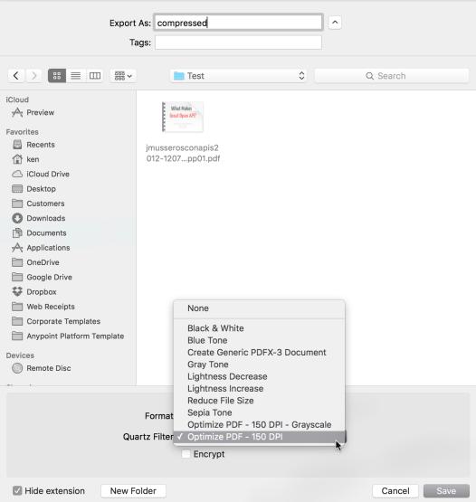 Select the Quartz filter at the Export dialog