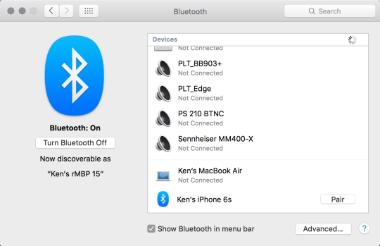 MacOS Bluetooth menu