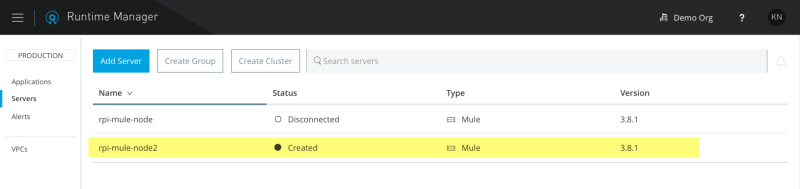 The Mule Runtime is now registered in the Runtime Manager