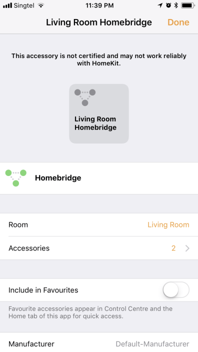 HomeBridge Linked to iOS Home app