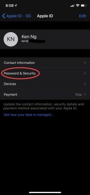 Update the AppleID's Password & Security