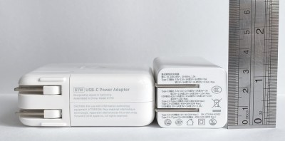 Baseus GaN 65W USB-C Charger compared with Apple MacBook Pro 61W USB-C Power Adapter - Height profile