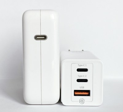 Baseus GaN 65W USB-C Charger compared with Apple MacBook Pro 61W USB-C Power Adapter - Ports