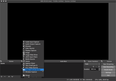 Adding a video device layer on OBS