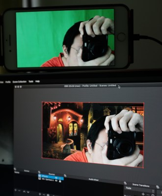 Chroma key filter in action on OBS