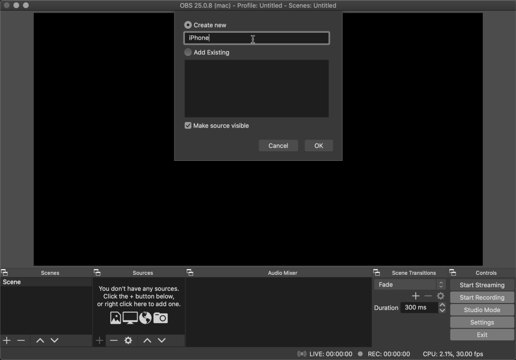 Adding a new video device on OBS
