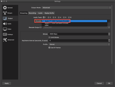 Using the Apple VT H264 Hardware Encoder on OBS