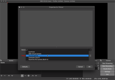 Selecting my iPhone as the video source on OBS