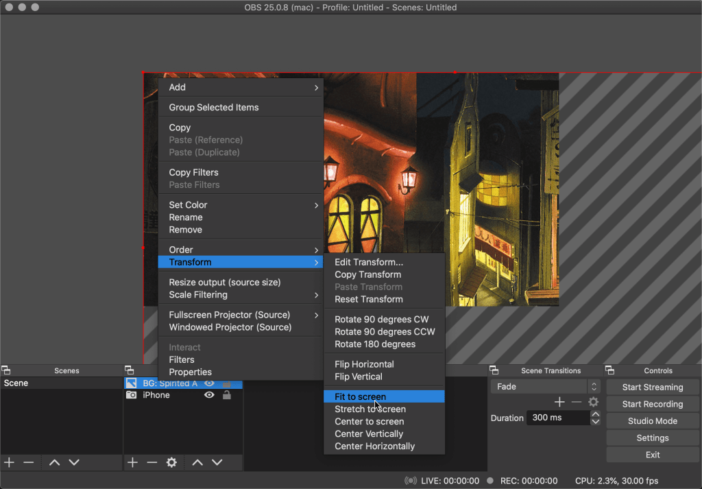 Transform the image layer to fit to screen on OBS