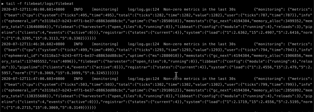 Confirm that Anypoint Monitoring working when you see the filebeat logs