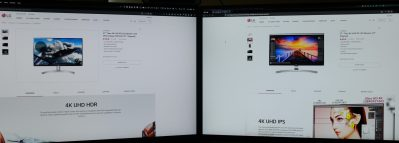 Colour difference between the LG 27UL600-W and LG 27UD88-W