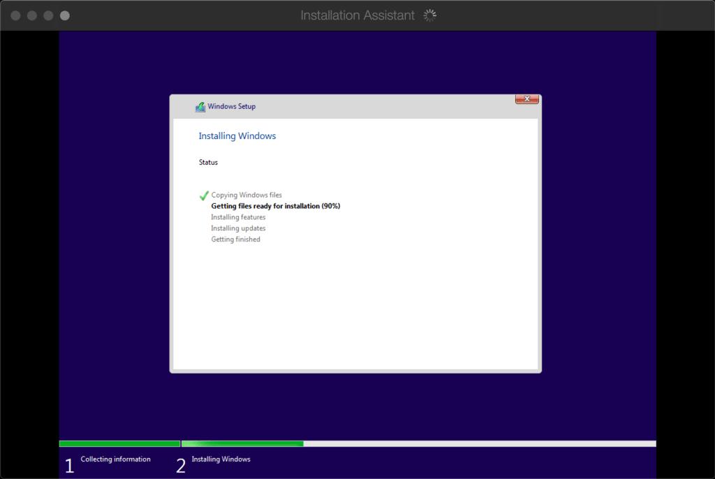 Auto installation of Windows on Parallels Mac