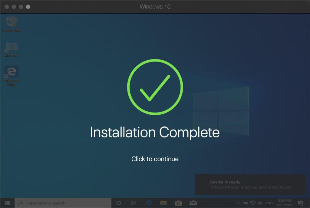 Windows installation is complete!