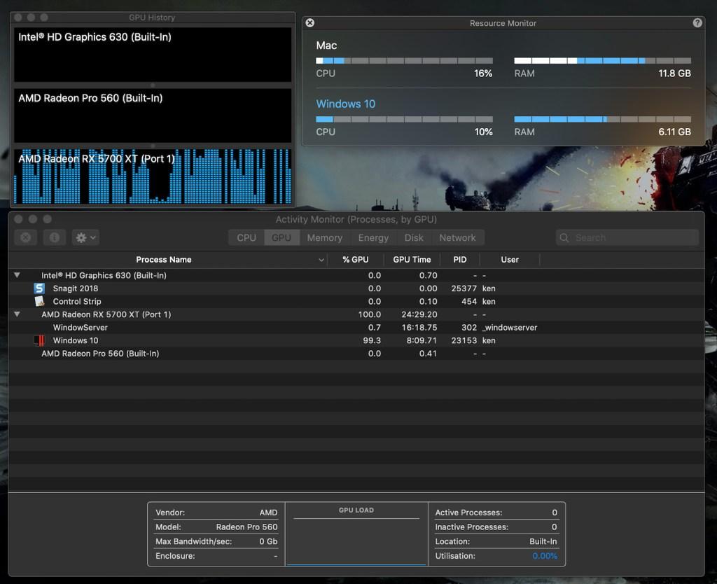 Parallels Desktop fully utilises the RX 5700 XT eGPU