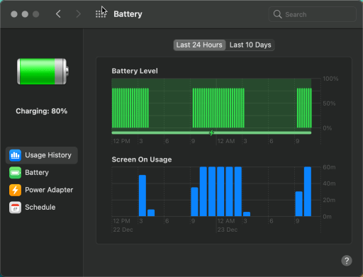 macOS battery history showing max of 80%