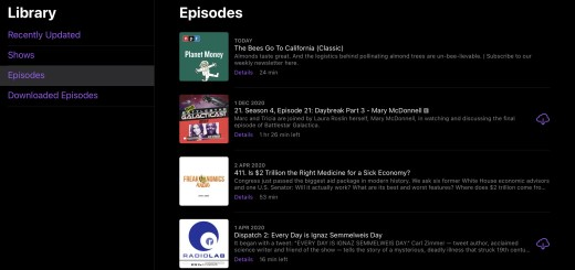 Apple Podcast library on iPadOS