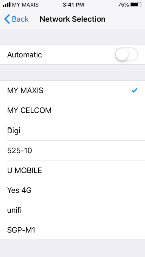 Selecting the MY MAXIS network manually