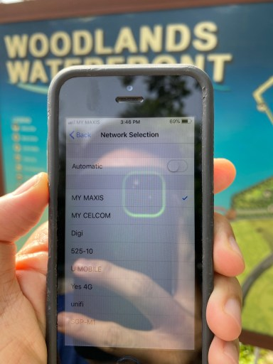Maxis network availability at Woodlands Waterfront, Singapore