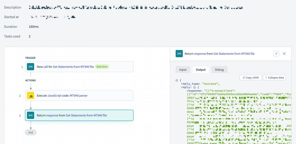 Custom MT940 parser on Workato Javascript connector