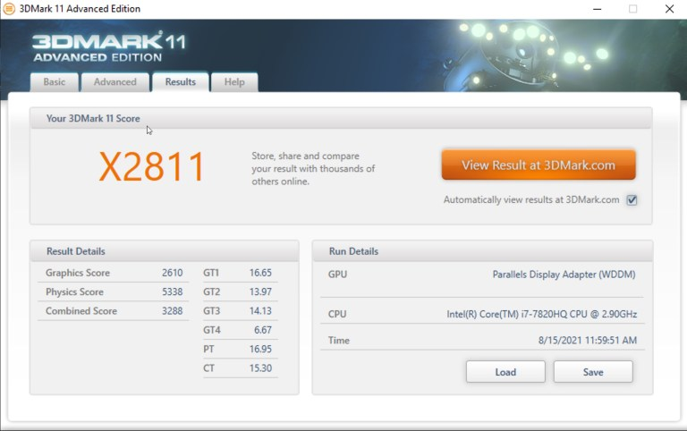 3DMark 11 Extreme Benchmark - Windows on Parallels Desktop 17 + RX580