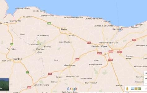 Mapa da Normandia - Dia D