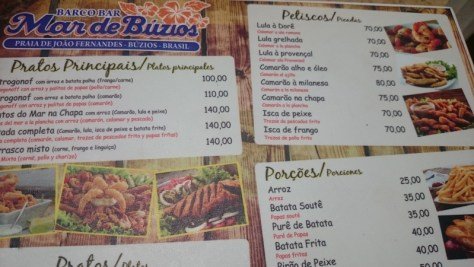 Comer em Búzios: Cardápio do Mar de Búzios