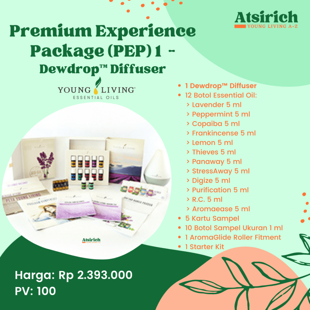 Rincian Starter Kit Young Living_atsirich_Premium Experience Package Dewdrop Diffuser