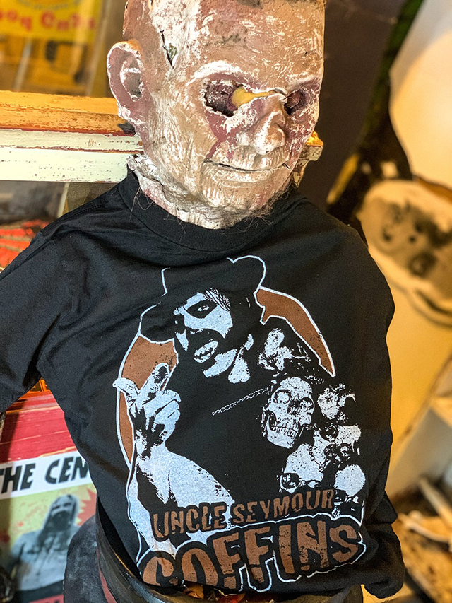Uncle Seymour Coffins T-Shirts, Autographed Prints & Masks from Local Boogeyman