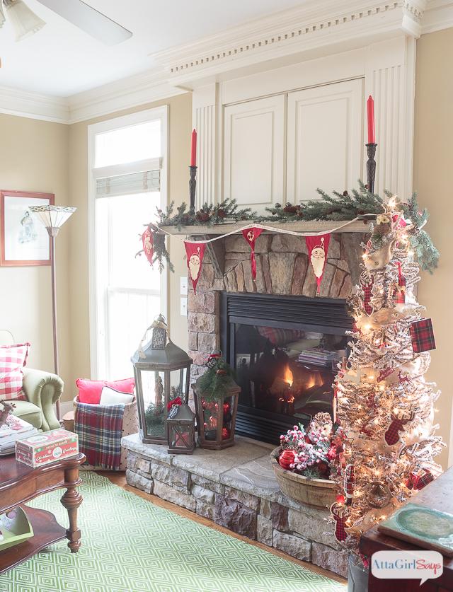 Cozy Fireplace Mantel With Rustic Christmas Decor Atta