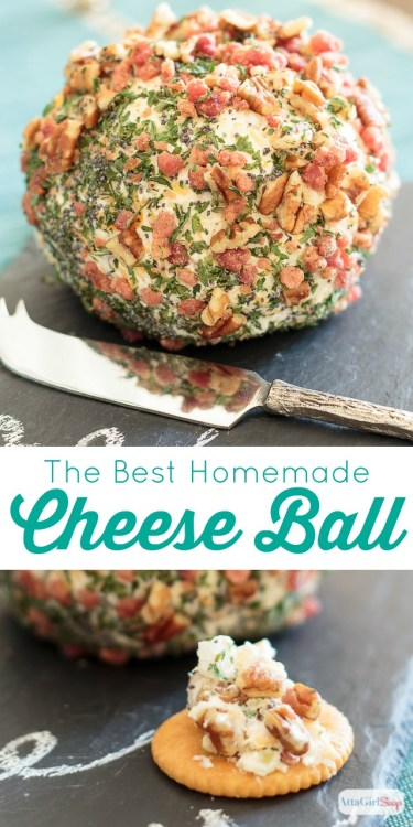 "Made with three types of cheese and a little bit of ""everything"" else, this homemade cheese ball recipe is a party guest favorite. The recipe makes two cheese balls, so you can serve one and share one. (Content for 21+) #ad #WhenToWine"