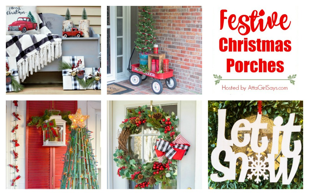 collage showing five festive Christmas porches