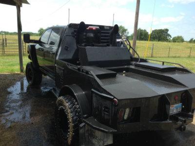 custom tank on monster hauler bed