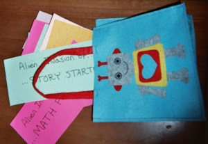 Tuck story starter cards in an old felt bag in your Classroom Discovery Place.