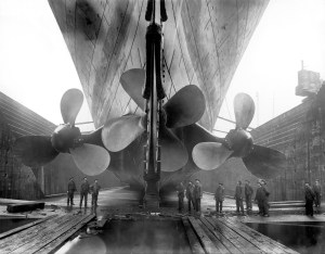 The three propellers of the RMS Titanic dwarf ship builders in Belfast, Ireland.