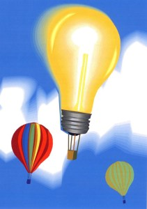 What else besides a flying machine does the shape of a hot air balloon make? Answer: a lightbulb...bright idea!