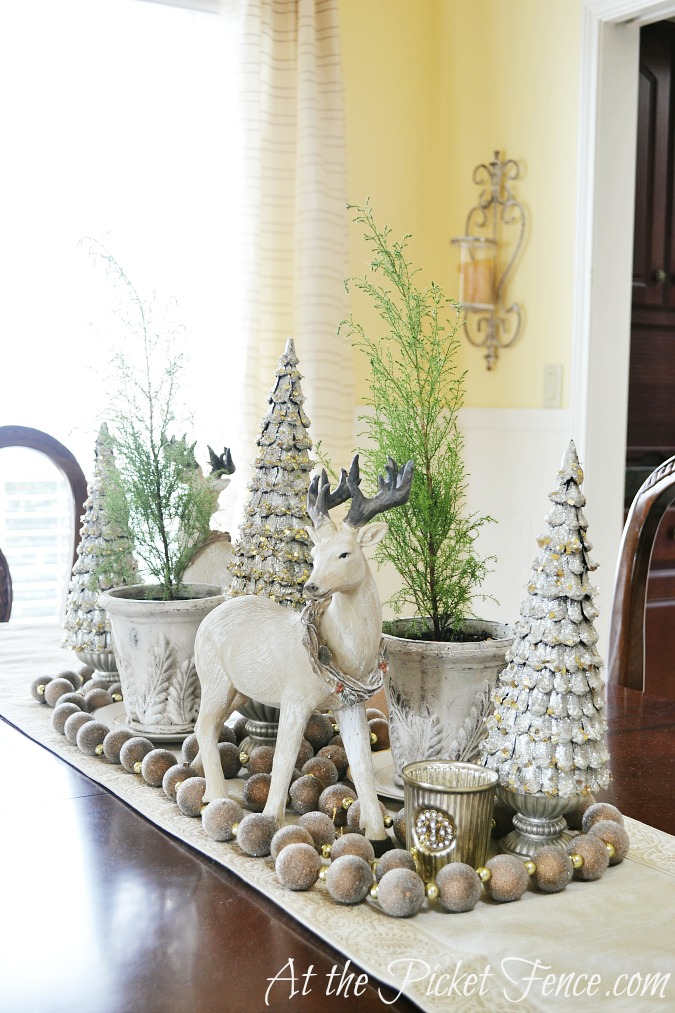 Simple Winter Decorating Ideas   At The Picket Fence Dining room table winter or Christmas decor from atthepicketfence com