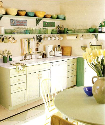 sink area of green retro cottage kitchen