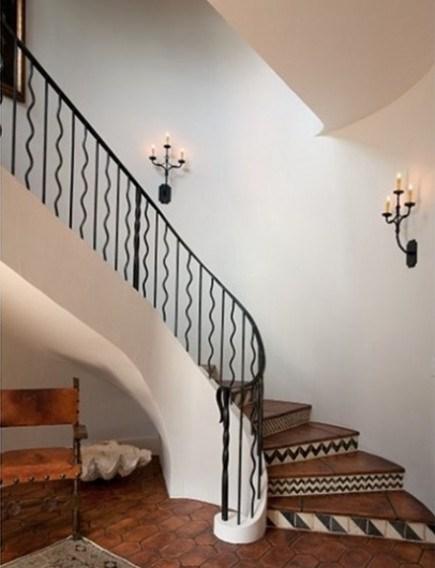 Wrought Iron Staircase Railing | Cast Iron Stair Railing | Residential | Horizontal | Chrome Picket Interior | Custom | Iron Baluster
